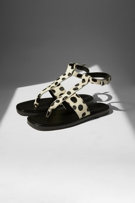 Topshop Womens Peachy Black And White Leather Toe Post Sandals - Monochrome