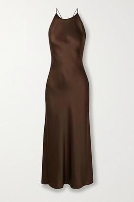 Rosetta Getty Open-back Satin Midi Dress - Chocolate