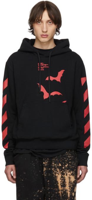Off-White Blackand Red Diag Bats Slim Hoodie