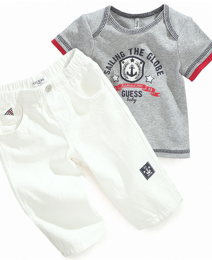GUESS Baby Set, Baby Boys Sailing the Globe Tee and White Jeans Set