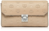 MCM Medium New Beige Millie Monogrammed Leather Flap Crossbody Bag