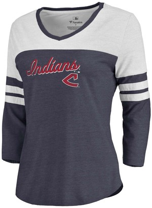 Women's Fanatics Branded Heathered Navy/White Cleveland Indians Rising Script Tri-Blend Raglan V-Neck 3/4-Sleeve T-Shirt