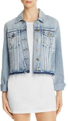 Pistola Denim Brando Distressed Cropped Denim Jacket