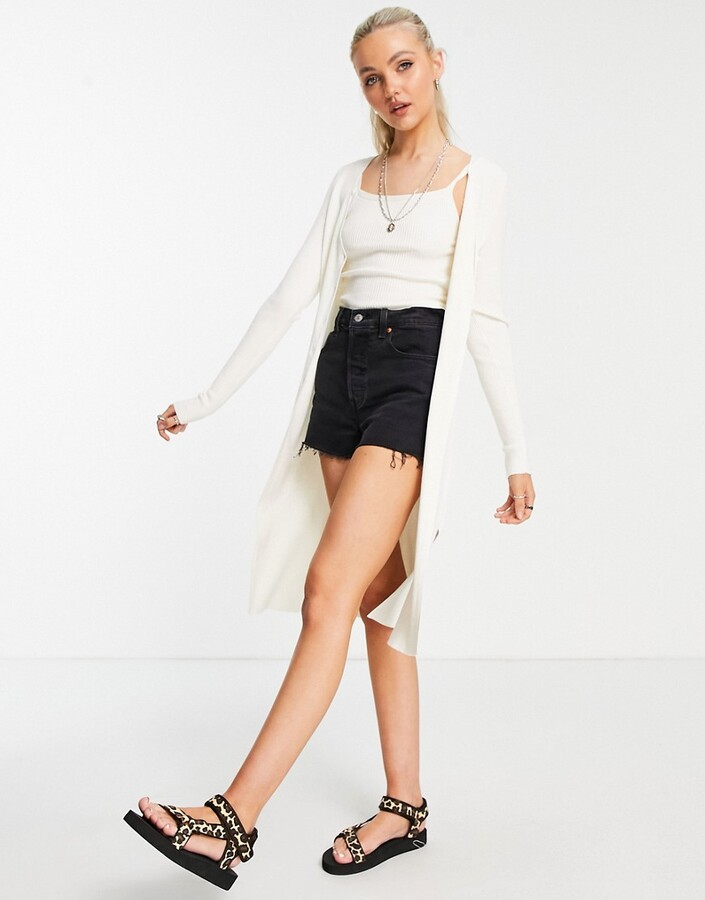 Abercrombie & Fitch long cardigan in cream