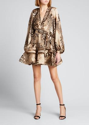 Bronx and Banco Cheetah-Print Tiered Ruffle Mini Dress