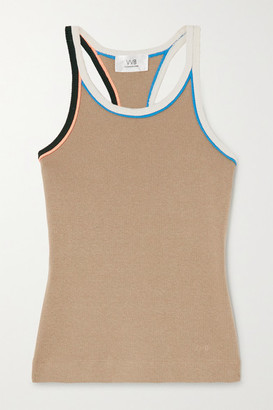 Victoria Victoria Beckham Ribbed Cotton-jersey Tank - Sand