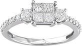 Stella Grace 14k White Gold 3/4 Carat T.W. Diamond Square 3-Stone Ring