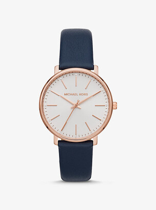 Michael Kors Pyper Rose Gold-Tone Leather Watch