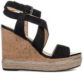 Hogan Black H324 Wedge Suede Sandal