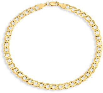 Saks Fifth Avenue Made In Italy 14K Yellow Gold Light Beveled Curb Chain Bracelet