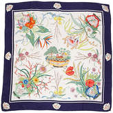 One Kings Lane Vintage Gucci Floral Navy Accornero Silk Scarf