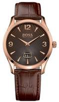 HUGO BOSS Men's Commander Croc Embossed Leather Watch, 41mm
