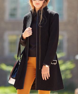 T Tahari Women's Car Coats BLACK - Black Elaine Wool-Blend Trench Coat - Women