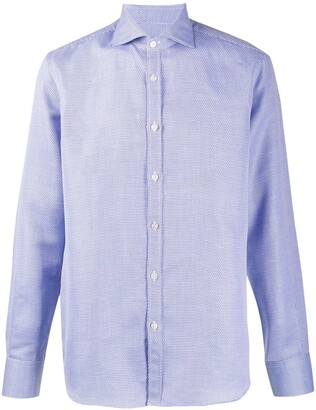 Canali Curved Hem Long Sleeve Shirt