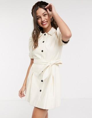 Moon River faux leather puff sleeve mini dress