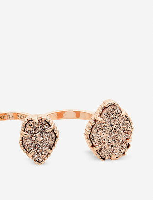 Kendra Scott Naomi 14ct rose-gold plated and drusy double ring