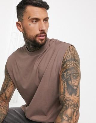 ASOS DESIGN oversized longline sleeveless t-shirt in brown