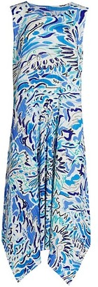Pleats Please Issey Miyake Playing Print Pleated Midi Dress
