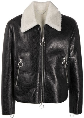 Off-White Black Leather Shearling Jacket