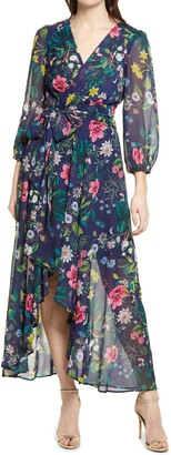 Eliza J Floral Long Sleeve Faux Wrap Dress