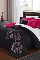 Sakura Embroidered 8-Piece Comforter Set - Black/Fuchsia