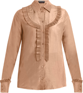 Rochas Pleated-bib cotton-blend voile shirt