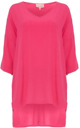 Phase Eight Longline Blouse, Bright Pink