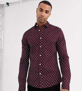 ASOS DESIGN Tall slim stretch spot shirt in burgundy