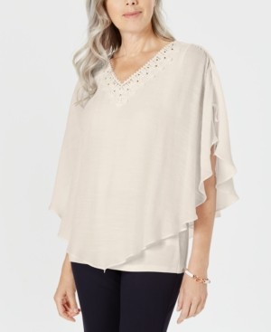 JM Collection Petite Crochet-Neck Textured Top, Created for Macy's