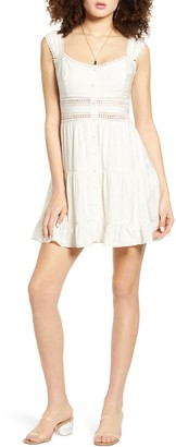 ALL IN FAVOR Crochet Lace Inset Minidress