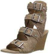 Sugar Women's Hucklebaby Buckle Stud Grommet Stacked Wedge Sandal,7 M US