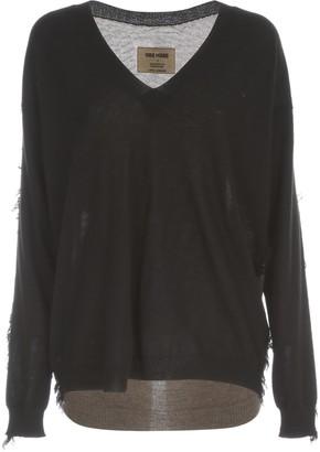 UMA WANG L/s Knit V Ribbed Oversized Sweater Bicolour