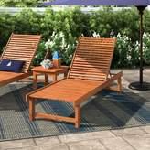 Beachcrest Home Elsmere Reclining Teak Chaise Lounge