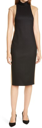 Judith & Charles Colorblock Mock Neck Sleeveless Sheath Dress