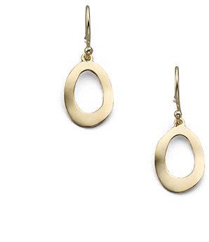 Ippolita Glamazon Sculptural Metal 18K Yellow Gold Mini Open Oval Drop Earrings