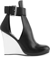 McQ by Alexander McQueen Cutout leather wedge boots