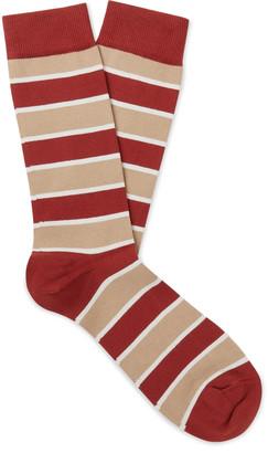 Sunspel Striped Cotton-Blend Socks