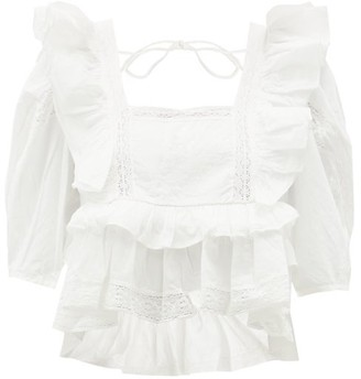Rhode Resort Charlotte Lace And Ruffle-trimmed Cotton Blouse - White
