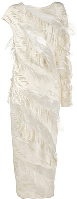 Gianfranco Ferré Pre-Owned 1990s Feather-Embellished Long Dress
