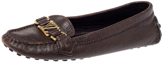 Louis Vuitton Brown Leather Oxford Slip On Loafers Size 37