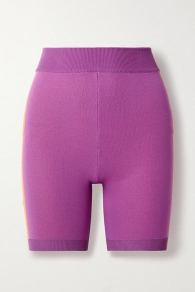 NAGNATA Triad Bodhi Striped Technical-knit Organic Cotton-blend Shorts - Pink