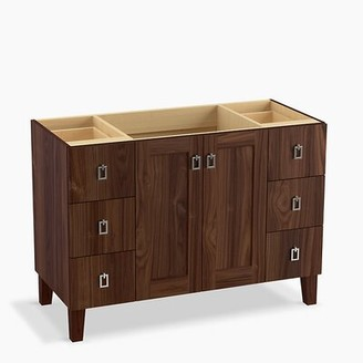 """Kohler Poplin 48"""" Vanity Base Only with Furniture Legs, 2 Doors and 6 Drawers Base Finish: Terry Walnut"""