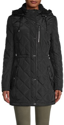 DKNY Faux Fur-Lined Quilted Coat