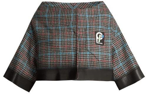 Prada Cropped Houndstooth Check Wool Blend Jacket - Womens - Grey Multi