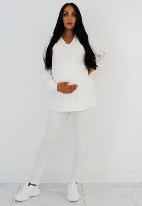 Missguided Cream 90S Waffle Maternity Joggers