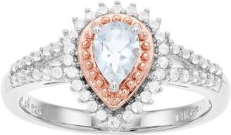 Two-Tone Rose Gold Over Silver Aquamarine Gemstone Ring