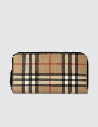 Burberry Vintage Check E-canvas Zip Around Wallet