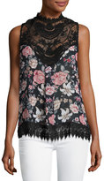 Romeo & Juliet Couture Lace-Trim Floral-Print Top, Black Multi
