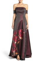 Badgley Mischka Women's Placed Floral Print Ballgown