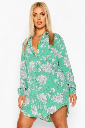 boohoo Plus Paisley Printed Shirt Dress